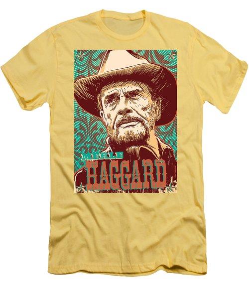 Merle Haggard Pop Art Men's T-Shirt (Slim Fit) by Jim Zahniser