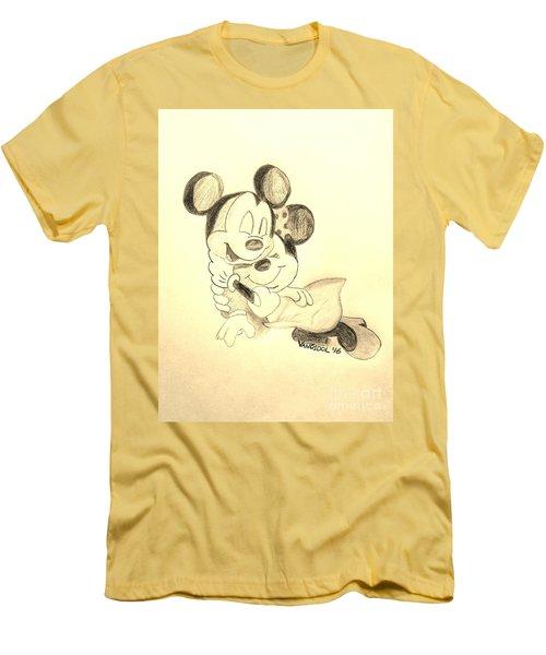 Mickey Minnie Cuddle Buddies - Sepia Men's T-Shirt (Slim Fit) by Scott D Van Osdol