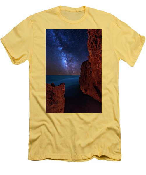 Milky Way Over Huchinson Island Beach Florida Men's T-Shirt (Slim Fit) by Justin Kelefas