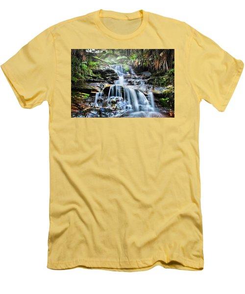 Men's T-Shirt (Slim Fit) featuring the photograph Misty Falls by Az Jackson