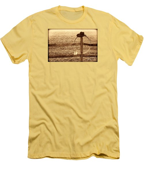 Misty Morning At The Ranch Men's T-Shirt (Slim Fit) by American West Legend By Olivier Le Queinec