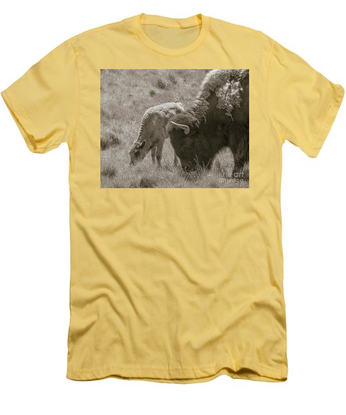 Men's T-Shirt (Slim Fit) featuring the photograph Mom And Baby Buffalo by Rebecca Margraf