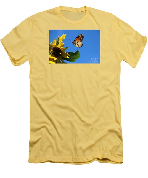 Monarch And Blue Sky  Men's T-Shirt (Slim Fit) by Yumi Johnson