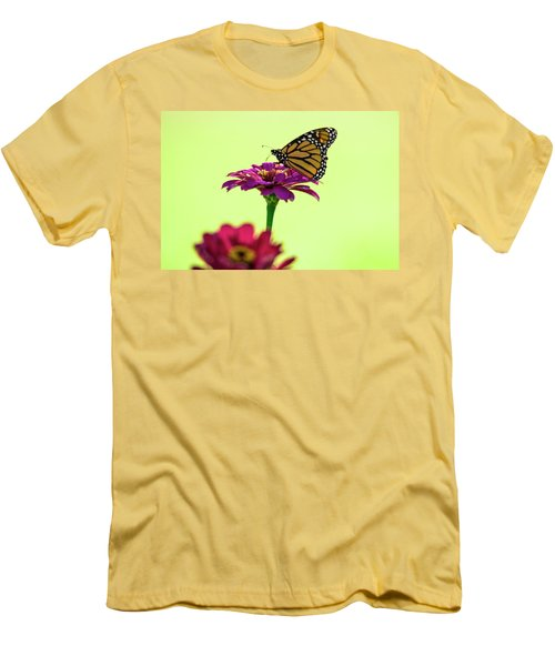 Monarch On A Zinnia Men's T-Shirt (Slim Fit) by Shelly Gunderson