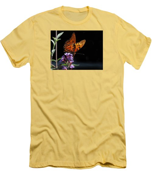 Monarch On Purple Flowers Men's T-Shirt (Athletic Fit)