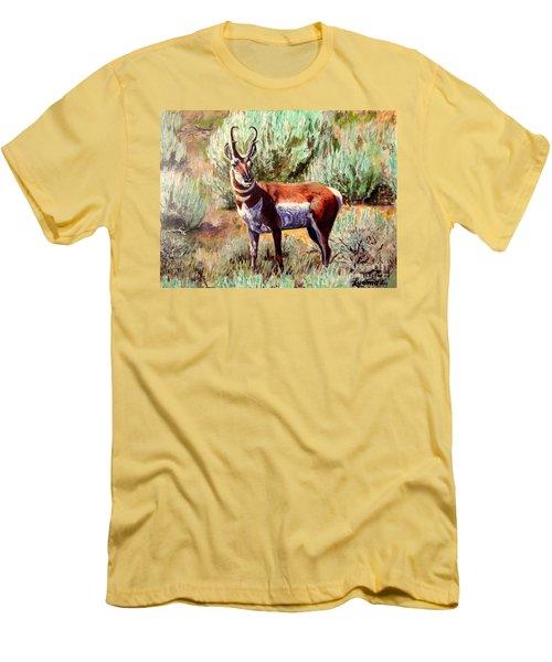Montana Antelope Buck  Men's T-Shirt (Slim Fit) by Ruanna Sion Shadd a'Dann'l Yoder