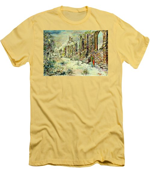 Men's T-Shirt (Slim Fit) featuring the painting Moonlit Footsteps On Holy Ground by Alfred Motzer