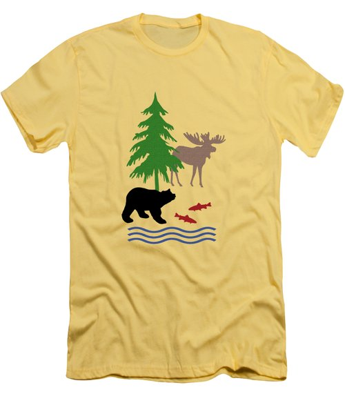 Moose And Bear Pattern Men's T-Shirt (Slim Fit)
