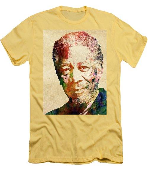 Morgan Freeman Men's T-Shirt (Slim Fit) by Mihaela Pater
