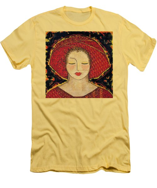 Men's T-Shirt (Slim Fit) featuring the mixed media Morning Meditation by Gloria Rothrock