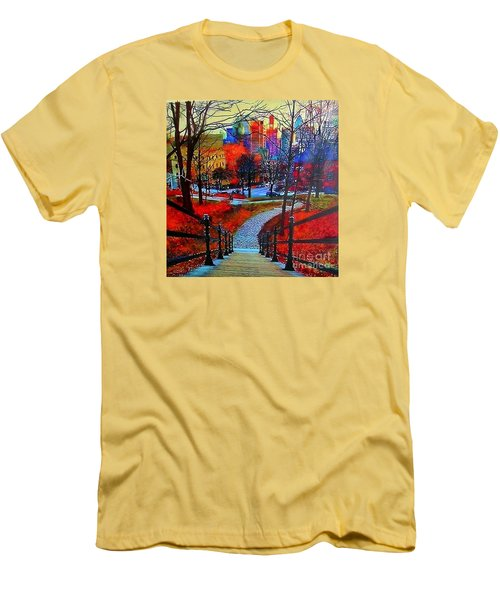 Men's T-Shirt (Slim Fit) featuring the painting Mount Royal Peel's Exit by Marie-Line Vasseur