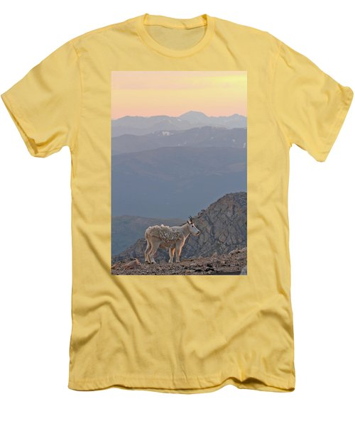 Men's T-Shirt (Slim Fit) featuring the photograph Mountain Goat Sunset by Scott Mahon