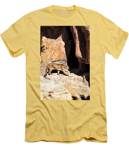 Men's T-Shirt (Slim Fit) featuring the photograph Mountain Lion by Lawrence Burry
