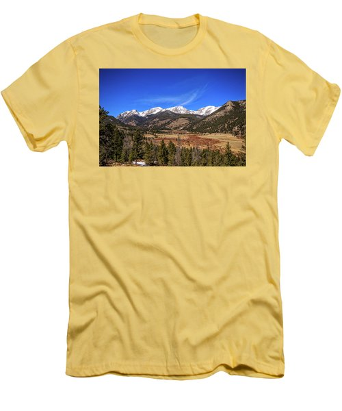 Men's T-Shirt (Slim Fit) featuring the photograph Mountain View From Fall River Road In Rocky Mountain National Pa by Peter Ciro