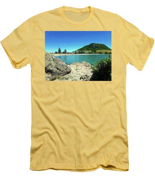 Mt Maunganui Beach 13 - Tauranga New Zealand Men's T-Shirt (Slim Fit) by Selena Boron