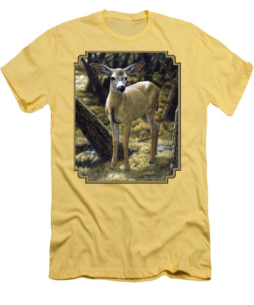 Mule Deer Fawn - Monarch Moment Men's T-Shirt (Athletic Fit)