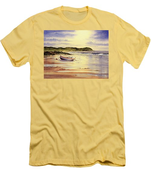 Men's T-Shirt (Athletic Fit) featuring the painting Mull Of Kintyre Scotland by Bill Holkham