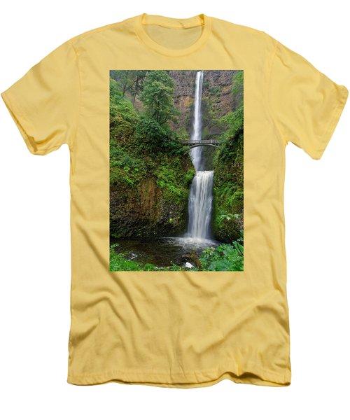 Men's T-Shirt (Slim Fit) featuring the photograph Multnoma Falls by Jonathan Davison