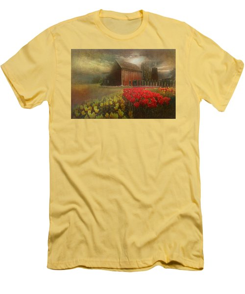 Mythical Tulip Farm Men's T-Shirt (Slim Fit) by Jeff Burgess