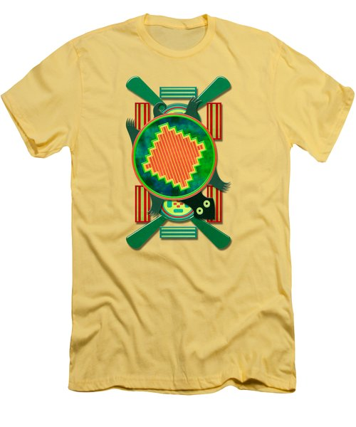 Native American 3d Turtle Motif Men's T-Shirt (Slim Fit) by Sharon and Renee Lozen