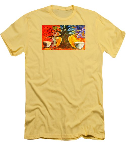 Men's T-Shirt (Slim Fit) featuring the mixed media Neighbor - Voisin by Fania Simon