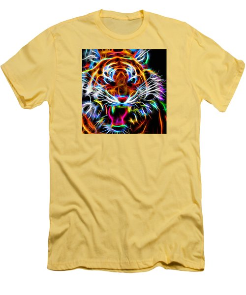 Men's T-Shirt (Slim Fit) featuring the digital art Neon Tiger by Andreas Thust