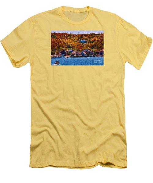 Men's T-Shirt (Slim Fit) featuring the digital art New England Fall Coastline by Kirt Tisdale