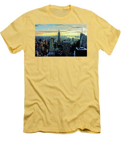 Men's T-Shirt (Athletic Fit) featuring the digital art New York City by PixBreak Art