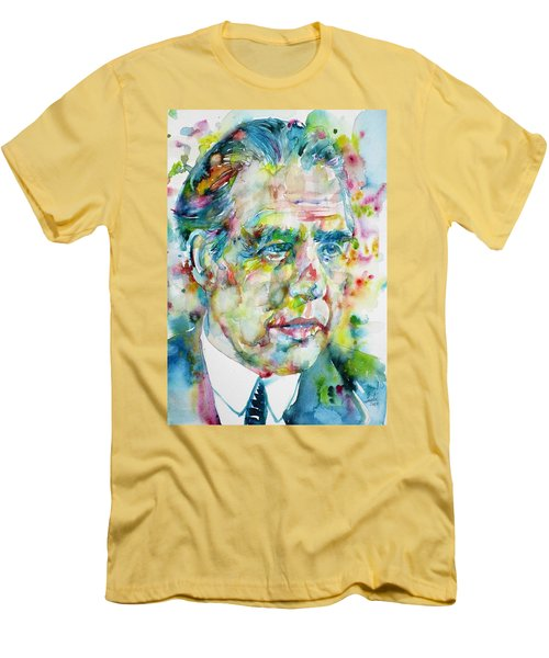 Men's T-Shirt (Slim Fit) featuring the painting Niels Bohr - Watercolor Portrait by Fabrizio Cassetta