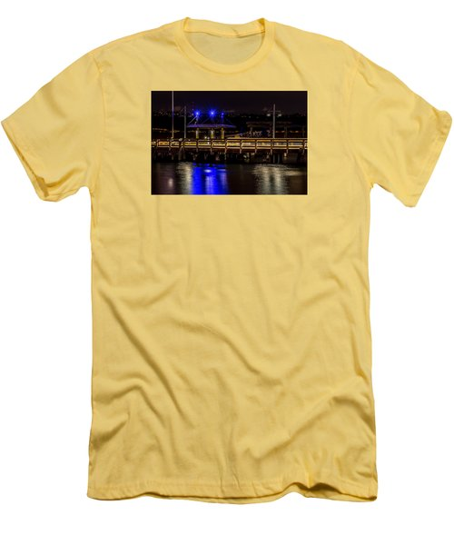 Night Falls On Old Town Pier Men's T-Shirt (Slim Fit) by Rob Green