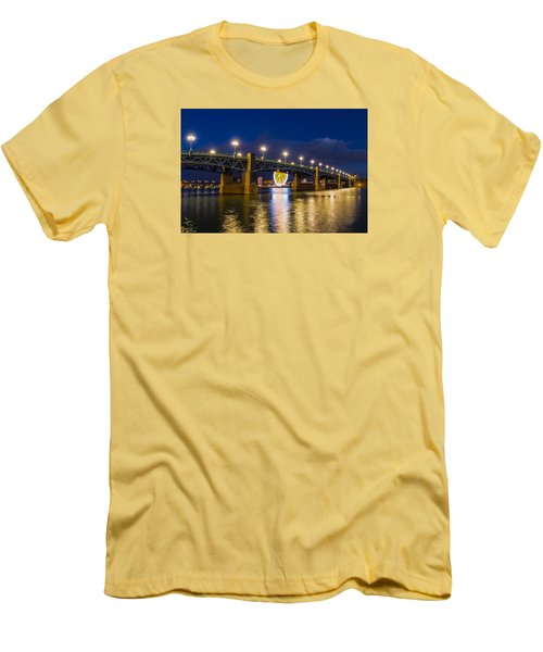 Men's T-Shirt (Slim Fit) featuring the photograph Night Shot Of The Pont Saint-pierre by Semmick Photo