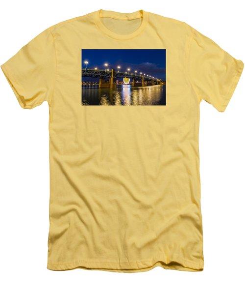 Night Shot Of The Pont Saint-pierre Men's T-Shirt (Slim Fit) by Semmick Photo