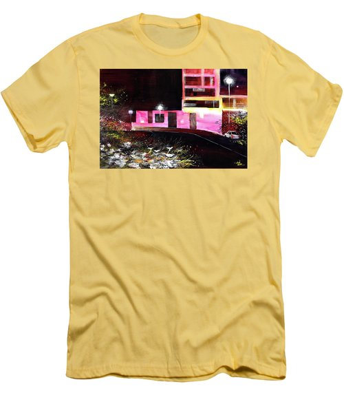 Men's T-Shirt (Slim Fit) featuring the painting Night Walk by Anil Nene