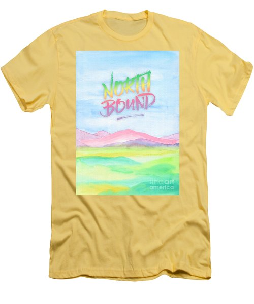 North Bound Pink Purple Mountains Watercolor Painting Men's T-Shirt (Athletic Fit)