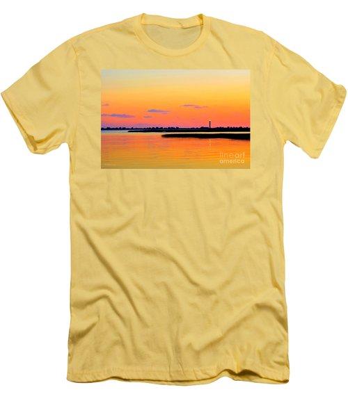 Oak Island Lighthouse Sunset Men's T-Shirt (Slim Fit) by Shelia Kempf