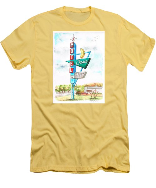 Oasis Motel In Route 66, Tulsa, Texas Men's T-Shirt (Slim Fit) by Carlos G Groppa