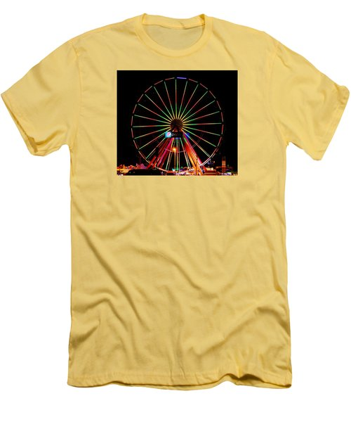 Oc Pier Ferris Wheel At Night Men's T-Shirt (Slim Fit) by William Bartholomew