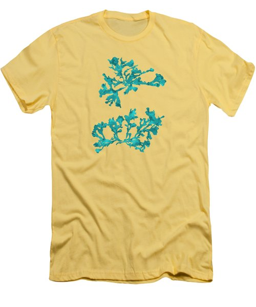 Men's T-Shirt (Slim Fit) featuring the mixed media Ocean Seaweed Plant Art Phyllophora Rubens by Christina Rollo