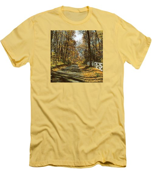 Men's T-Shirt (Slim Fit) featuring the painting October Backroad by Doug Kreuger