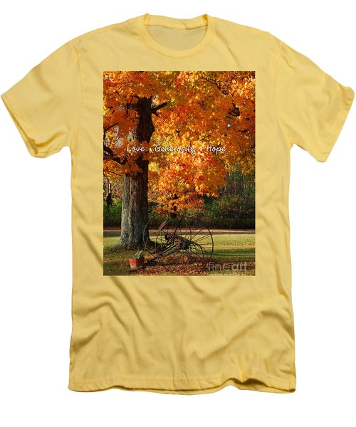 October Day Love Generosity Hope Men's T-Shirt (Slim Fit) by Diane E Berry
