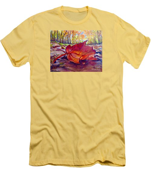 Men's T-Shirt (Slim Fit) featuring the painting Ode To A Fallen Leaf Painting by Kimberlee Baxter