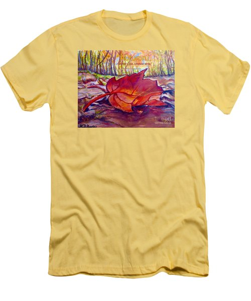 Men's T-Shirt (Slim Fit) featuring the painting Ode To A Fallen Leaf Painting With Quote by Kimberlee Baxter