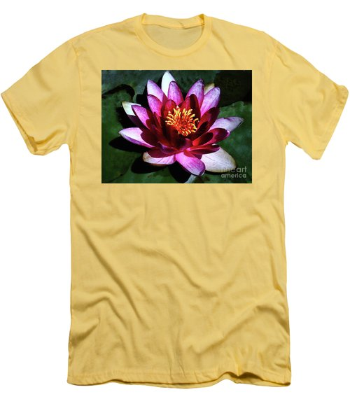 Men's T-Shirt (Slim Fit) featuring the photograph Ode To The Water Lily by Polly Peacock