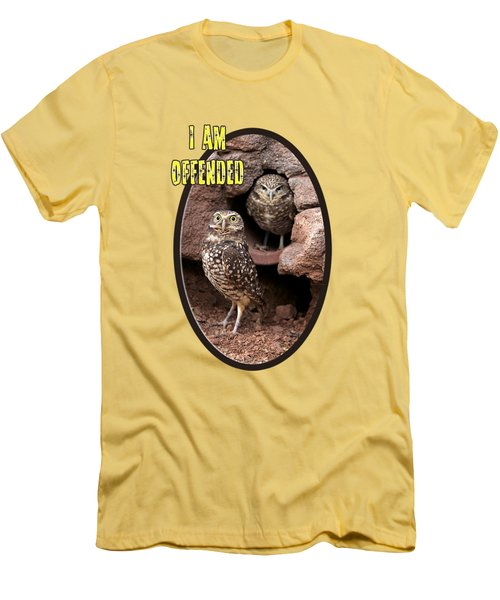 Men's T-Shirt (Slim Fit) featuring the photograph Offended Owl by Phyllis Denton