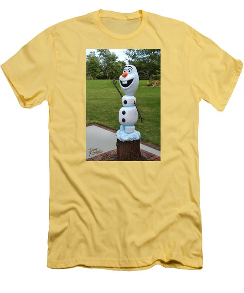 Men's T-Shirt (Slim Fit) featuring the sculpture Olaf Wood Carving by Doug Kreuger