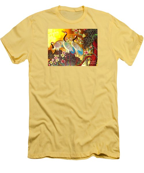 Old Ancient Chinese Screen Painting - Cranes Men's T-Shirt (Slim Fit) by Merton Allen