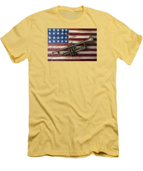 Old Trumpet On American Flag Men's T-Shirt (Slim Fit) by Garry Gay