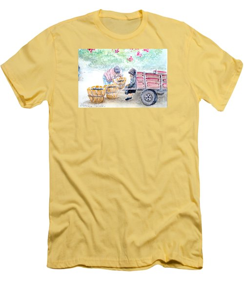 Men's T-Shirt (Slim Fit) featuring the painting Olive Pickers by Marilyn Zalatan