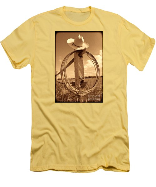On The American Ranch Men's T-Shirt (Slim Fit) by American West Legend By Olivier Le Queinec