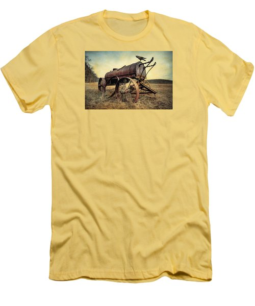 Men's T-Shirt (Slim Fit) featuring the photograph On The Water Wagon - Agricultural Relic by Gary Heller